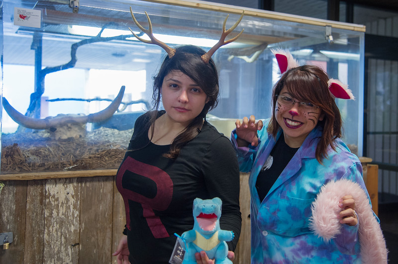 Stephanie Lozano and Caryn Garcia take a moment to show us their Halloween costumes.