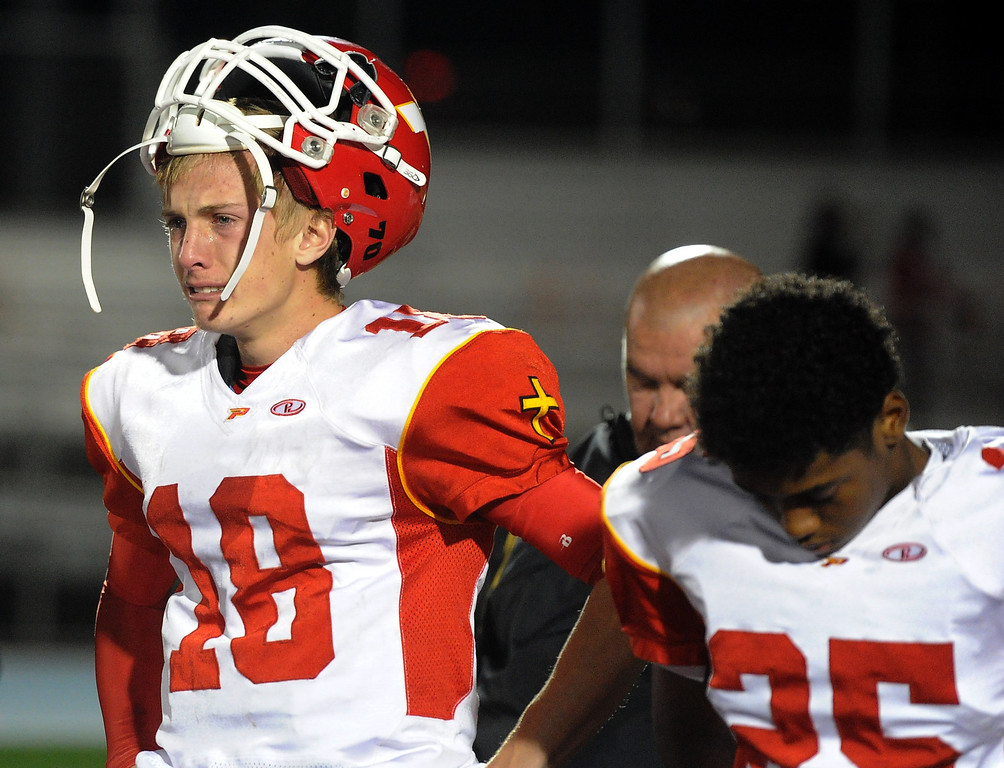 . Paraclete\'s Brett Nelson (18) reacts after losing to San Dimas 20-14 a CIF-SS Mid-Valley Division championship football game at San Dimas High School in San Dimas, Calif., on Friday, Dec. 6, 2013.   (Keith Birmingham Pasadena Star-News)