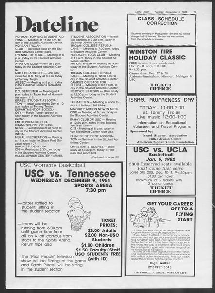 Daily Trojan, Vol. 91, No. 65, December 08, 1981