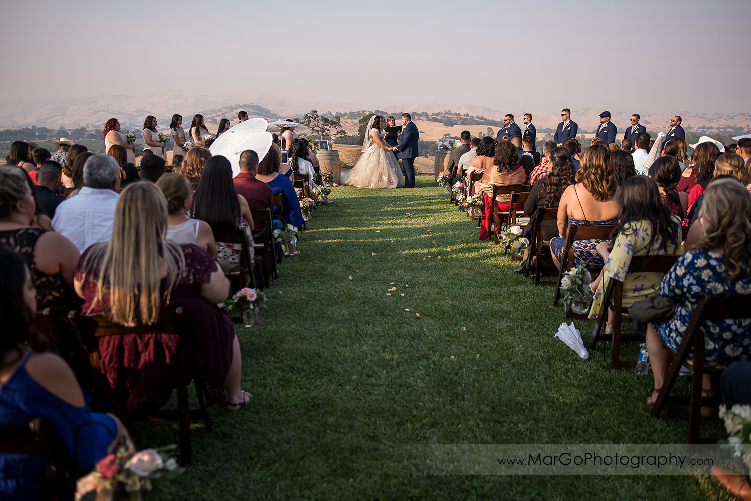 wide angle of wedding ceremony at Taber Ranch Vineyards