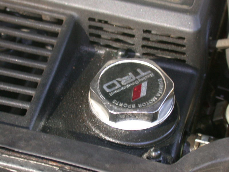 TRD oil cap (the only TRD part on the car, hehe)