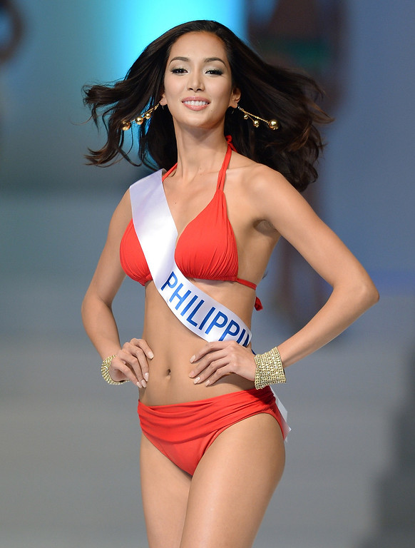. Bea Rose Santiago of the Philippines appears on the stage during the Miss International Beauty Pageant in Tokyo on December 17, 2013. The 23-year-old from the Philippines won the crown for this year\'s Miss International. TORU YAMANAKA/AFP/Getty Images