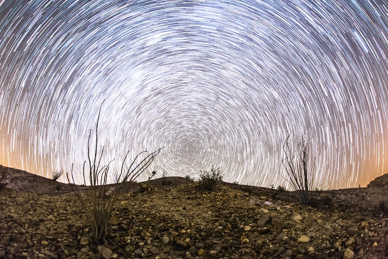 Star trails in the Anza-Borrego Desert