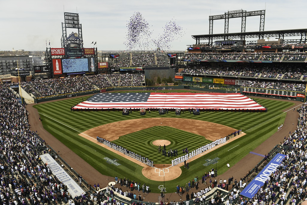 . DENVER, CO - ARRIL 08: Balloons are released during pregame ceremonies. Colorado Rockies home opener against the San Diego Padres at Coors Field. April 08, 2016 in Denver, CO. (Photo By Joe Amon/The Denver Post)