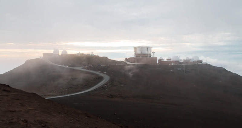 """Haleakala High Altitude Observatory Site, also known as """"Science City,"""" on the summit of Haleakala Volcano has the third biggest telescope in the world."""