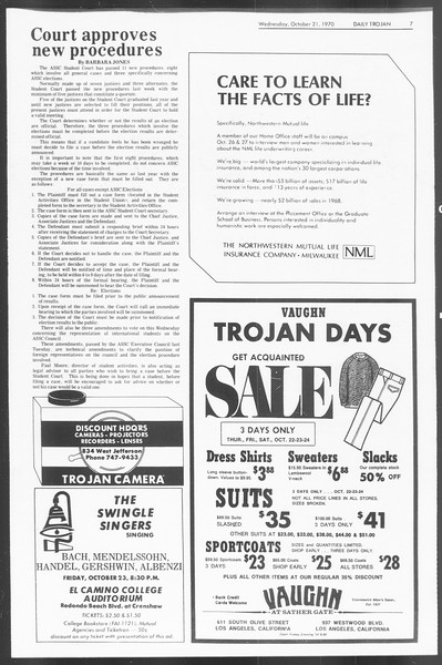 Daily Trojan, Vol. 62, No. 21, October 21, 1970
