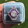 2.27ct (est) Art Deco Old European Cut Diamond with Amethyst Halo Ring 25