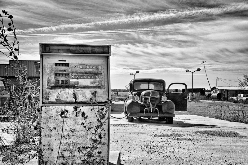 route 66 gas and truck bw.jpg