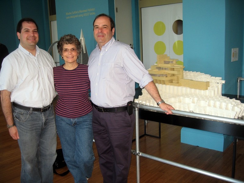 Craig and parents in front of a LEGO model of Fallingwater, by Adam Reed Tucker, in the LEGO® Architecture: Towering Ambition exhibit at the National Building Museum (4/24/11)