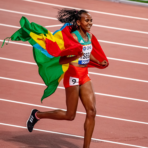 Gudaf Tsegay of Ethiopia celebrates after winning gold in the Women's 1500 metres final during day nine of 17th IAAF World Athletics Championships Doha 2019 at Khalifa International Stadium on October 05, 2019 in Doha, Qatar. Photo by Tom Kirkwood/SportDXB