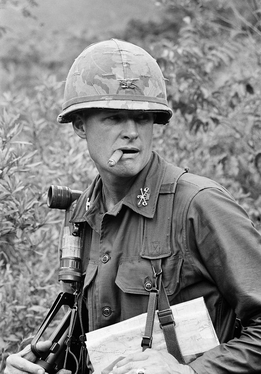 . Colonel Hal G. Moore, 44, commander of the U.S. 1st Air Cavalry Division\'s 3rd Brigade, is shown in South Vietnam, Feb. 23, 1966. Col. Moore, of Bardstown, Ky., is a West Point graduate who obtained his masters in international affairs at George Washington University. He is the only man in Vietnam promoted from battalion commander to brigade commander in the field. The American hero known for saving most of his men in the first major battle between the U.S. and North Vietnamese armies died Feb. 10 at age 94. (AP Photo/SAI)