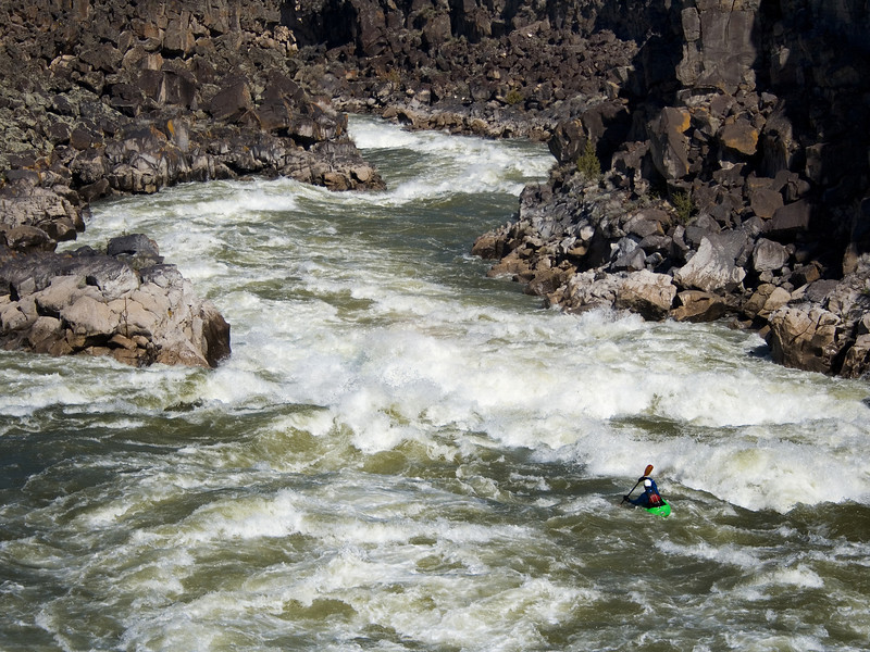 Paddler Ryan Casey on the Milner Mile, Snake River, Idaho.
