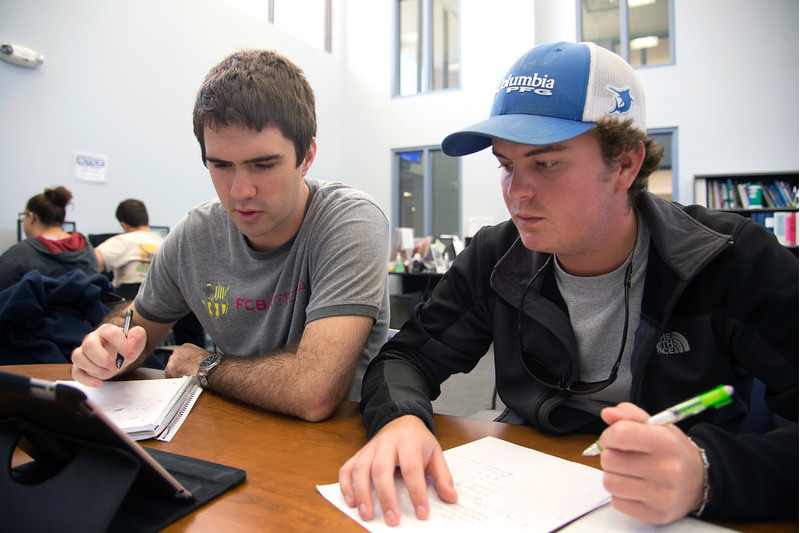 Students Spencez Rebuts(left) and Cody Lain do their homework.