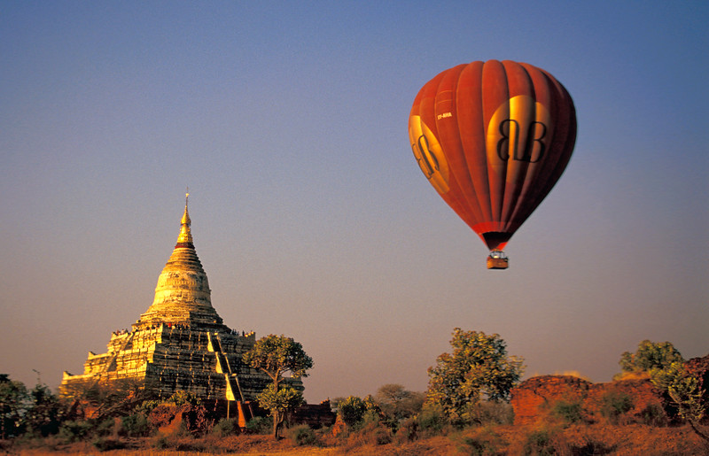 Hot-air Balloon above Shwesanda Temple in Bagan, Burma