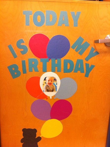 This is the birthday sign at Luca's daycare.  Party time!