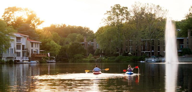 Summer kayaking on Lake Anne