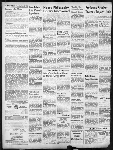 Daily Trojan, Vol. 34, No. 32, November 03, 1942