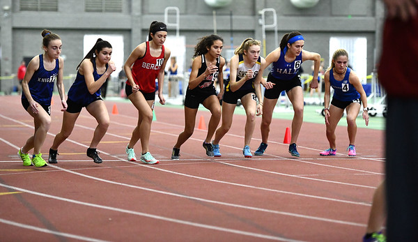 2/1/2020 Mike Orazzi | StaffrThe girls 1600 Meter Run during the CCC Indoor Track & Field Championships at the Floyd Little Athletic Center in New Haven on Saturday.