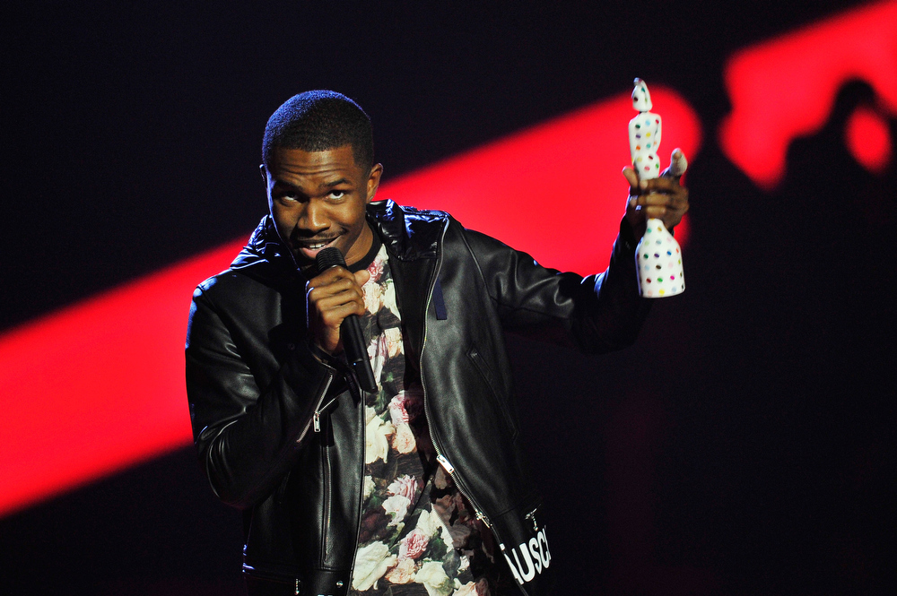 . Frank Ocean receives the award for International Male Solo Artist on stage during the Brit Awards 2013 at the 02 Arena on February 20, 2013 in London, England.  (Photo by Matt Kent/Getty Images)