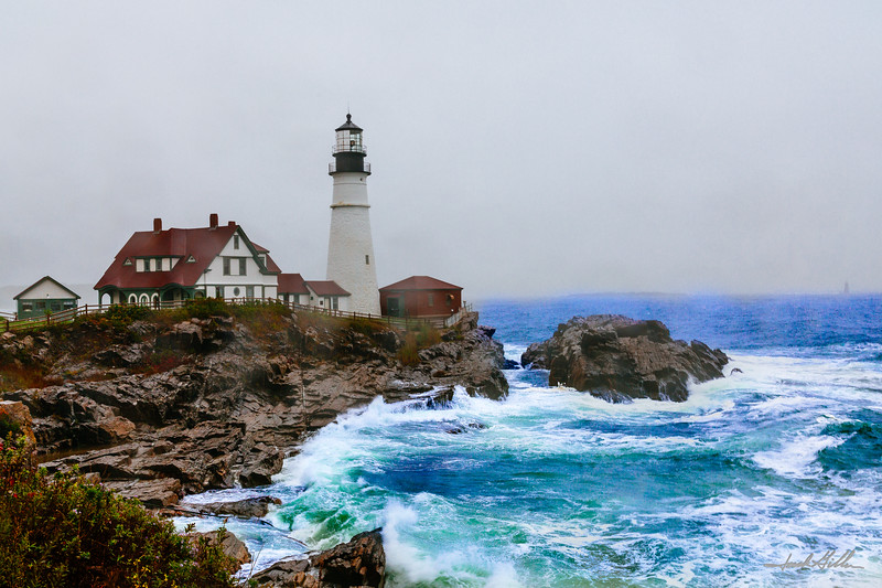 The  angry sea, Portland Head LIght, Cape Elizabeth (1791)