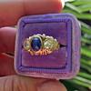 1.75ctw Cab Sapphire and Old European Cut Diamond 3-stone Ring 7