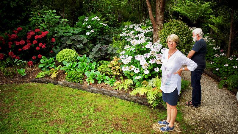 Liz Morrow in her garden, Omaio, north of Auckland
