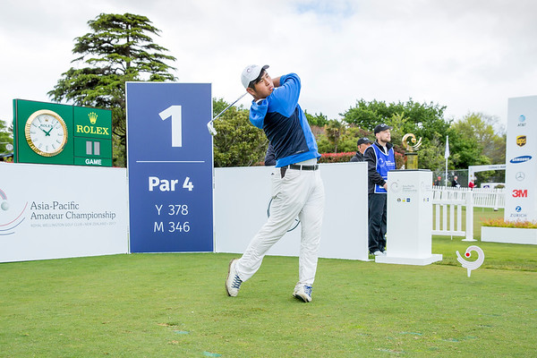 Tsai Kai-Jen from Chinese Taipei hitting off the 1st tee on Day 1 of competition in the Asia-Pacific Amateur Championship tournament 2017 held at Royal Wellington Golf Club, in Heretaunga, Upper Hutt, New Zealand from 26 - 29 October 2017. Copyright John Mathews 2017.   www.megasportmedia.co.nz