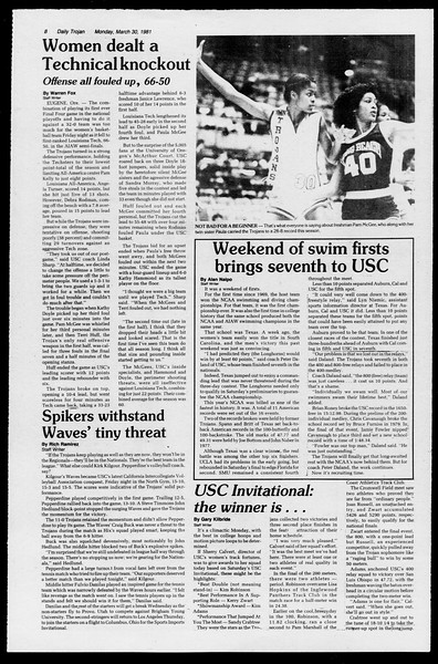 Daily Trojan, Vol. 90, No. 36, March 30, 1981