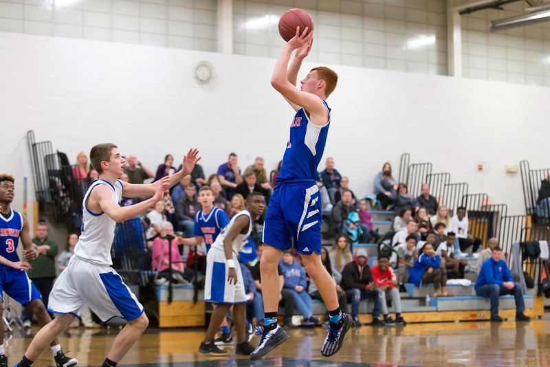 01/07/19  Wesley Bunnell | Staff  Bristol Eastern boys basketball in a home game vs Plainvillle on Monday night. Sam Lestini (1).