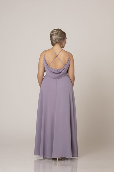Hello, chic simplicity! This bridesmaid gown from Sorella Vita is both modern and modest with its seamless styling and on-trend, high halter neckline. You'll love how the straps follow into a strappy back with cowl finishing, for a runway-ready style that evokes a timeless luxury. Made with flowing chiffon, this elevated yet effortless dress is available in over 30 colors.