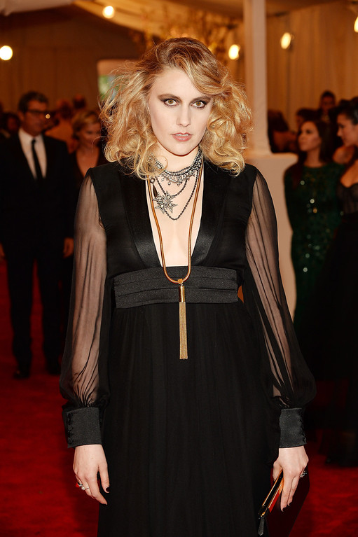 """. Greta Gerwig attends the Costume Institute Gala for the \""""PUNK: Chaos to Couture\"""" exhibition at the Metropolitan Museum of Art on May 6, 2013 in New York City.  (Photo by Dimitrios Kambouris/Getty Images)"""