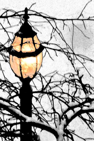 Post Lamp in Snow