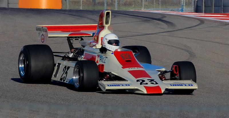 Ford Cosworth formerly driven by Graham Hill. Scoop shape indicates 1970's era.