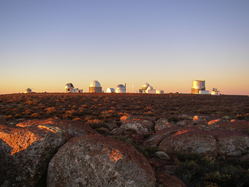 View of the telescopes at sunset. Sutherland, South Africa