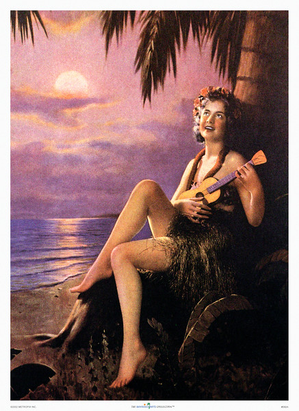 092: Hawaiian Pinup Calendar Illustration. Ca. 1935. Nice sample of 30's Hawaiian pinups. The great American vintage pinup, often calendar pin-ups, preceded the classic hawaiian pinup, but hula girl ukulele later adorned many a WWII plane, as hulla girls like pinups hawaiian, became a famous vintage Hawaii illustration poster. (PROOF watermark will not appear on your print)