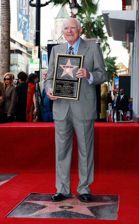 """. FILE - In this Thursday, Nov. 12, 2009, file photo, Judge Joseph Wapner is honored with star on the Hollywood Walk of Fame in Los Angeles. Wapner, who presided over \""""The People\'s Court\"""" with steady force during the heyday of the reality courtroom show, has died. Wapner died at home in his sleep Sunday, Feb. 26, 2017, according to his son, David Wapner. (AP Photo/Damian Dovarganes)"""