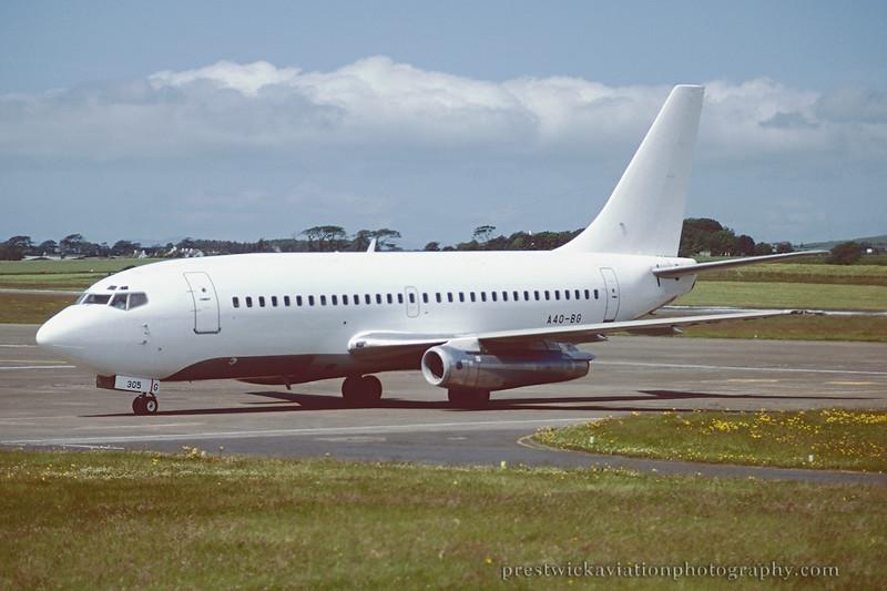 A40-BG. Boeing 737-2P6/Adv. Untitled. Prestwick. July 1998.