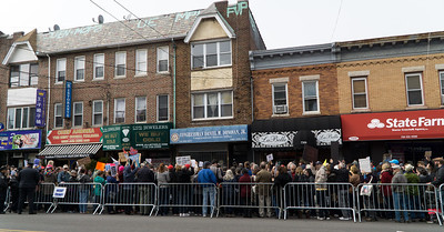 Hundreds jammed the sidewalk in front of Donovan's Dykker Heights office.