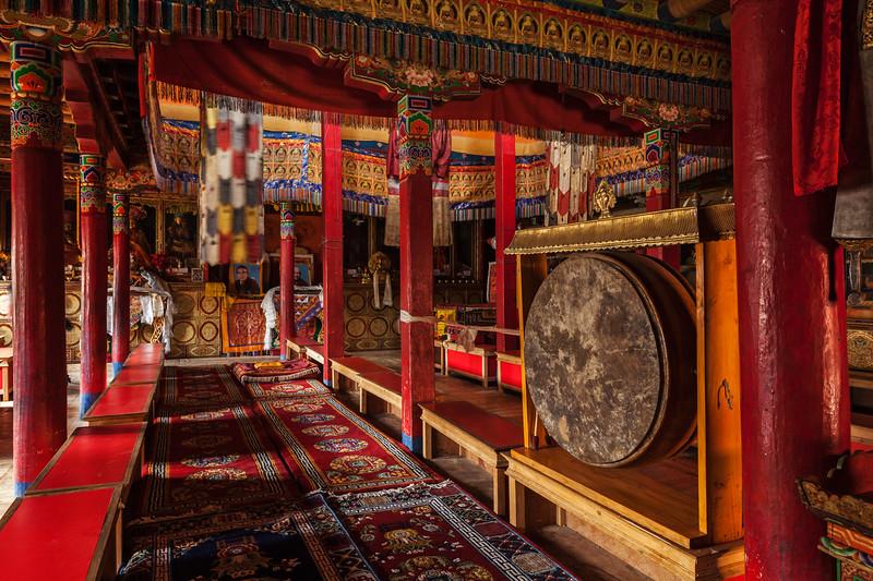 Inside Lamayuru gompa (Tibetan Buddhist monastery). Ladakh, India