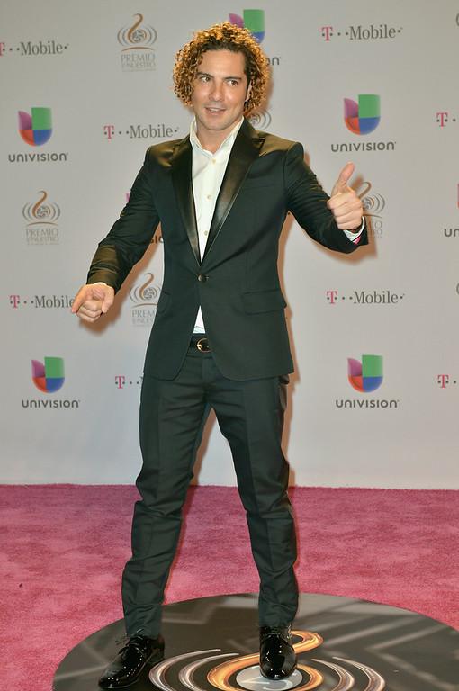 ". David Bisbal arrives at the 25th Anniversary Of Univision\'s \""Premio Lo Nuestro A La Musica Latina\"" on February 21, 2013 in Miami, Florida.  (Photo by Gustavo Caballero/Getty Images for Univision)"