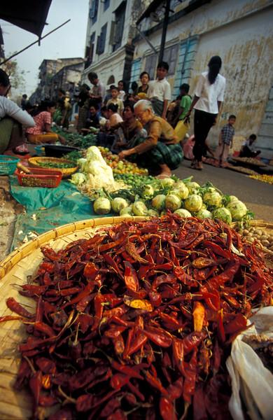 Chilli Peppers at Rangoon Vegetable Market, Burma (Myanmar).