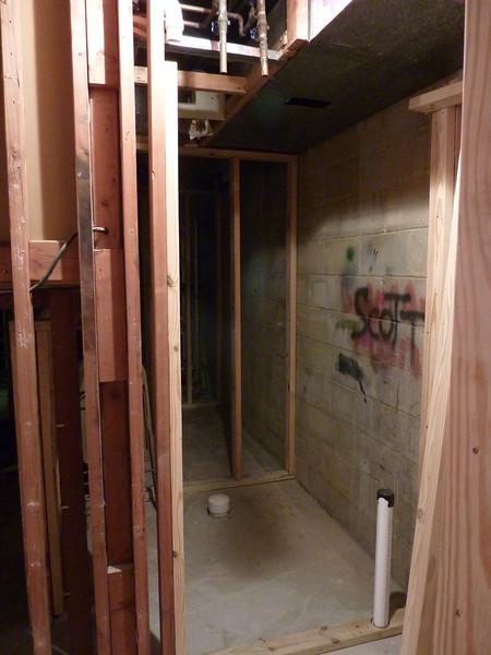The new rear backstage bathroom.