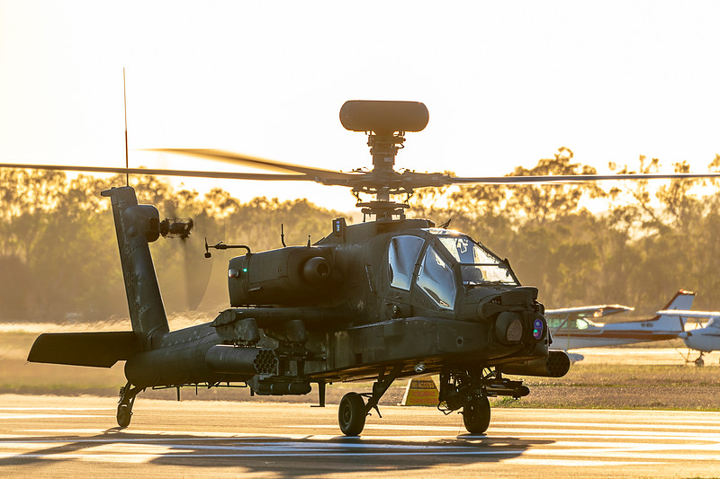Exercise Wallaby 2019 - Republic of Singapore Air Force AH-64D Apaches departing Rockhampton Airport