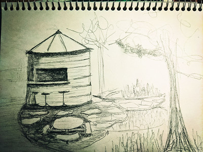 Rough drawing of a silo with a serving window cut out. A bar and barstools sit in front of the silo.