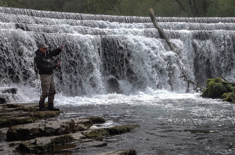 Fishing below Monsal Weir on the Wye ~ amazing where you can find trout!