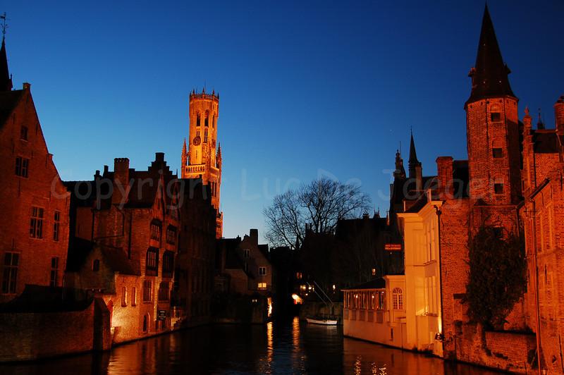 View on the Belfry (Belfort), seen from the famous Rozenhoedkaai in Bruges (Brugge), Belgium.