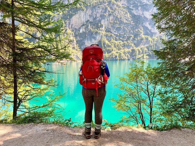 Hiker at Lago di Brais in Italy
