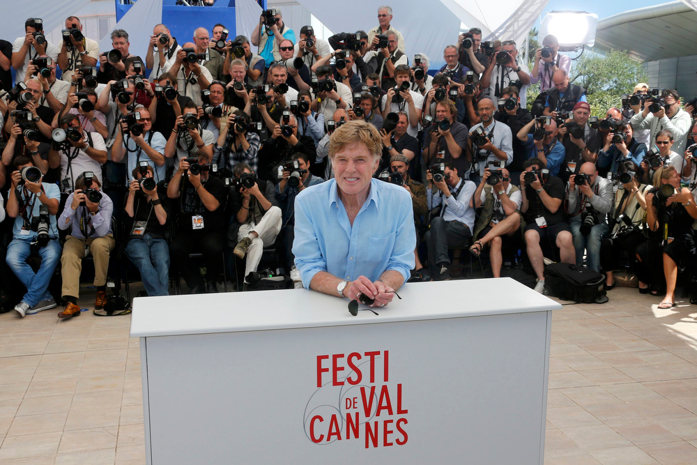 ". Actor Robert Redford poses during a photocall for the film ""All is Lost\"" at the 66th Cannes Film Festival in Cannes May 22, 2013.           REUTERS/Jean-Paul Pelissier"