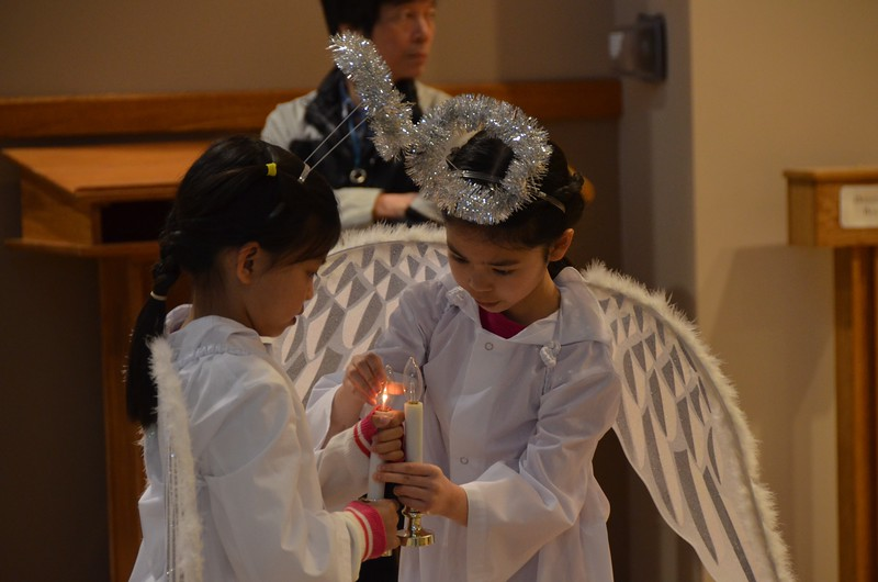Angels prepare for the service