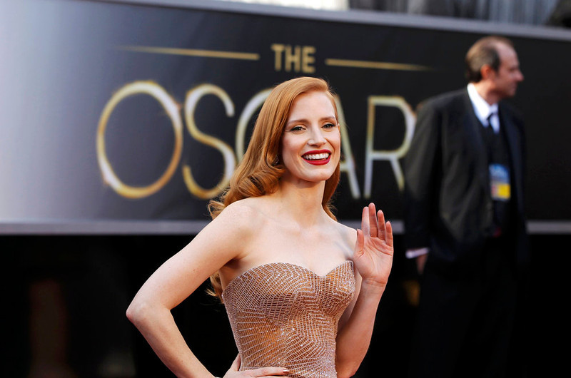 """. Jessica Chastain, best actress nominee for her role in \""""Zero Dark Thirty\"""", arrives at the 85th Academy Awards in Hollywood, California February 24, 2013.    REUTERS/Lucas Jackson"""